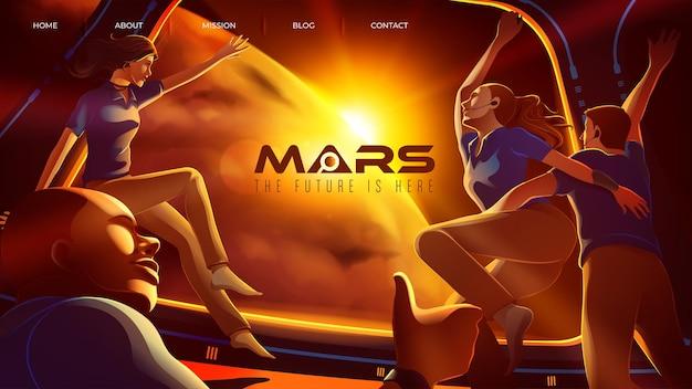 Ilustração vetorial com a expedição de 4 astronautas espaciais parabenizando juntos