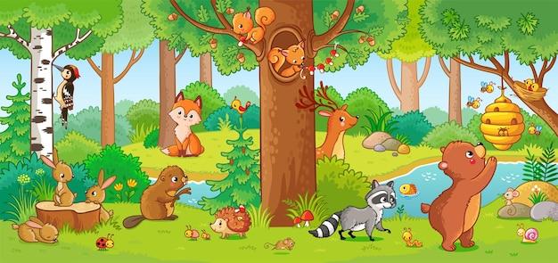 Ilustração vetorial com animais fofos da floresta em estilo infantil um conjunto de mamíferos na floresta