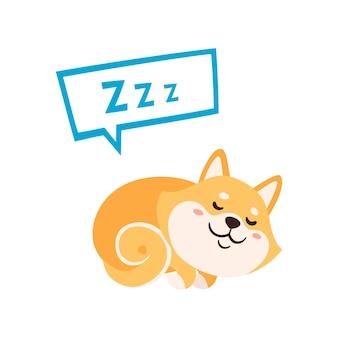 Ilustração vetorial com bonito shiba inu isolado no branco. cão de japão dos desenhos animados coloridos com bolha usada para revistas, adesivos, cartões.