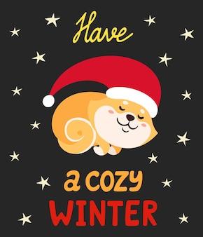 Ilustração vetorial com bonito shiba inu no chapéu de papai noel, isolado no branco. cão do japão colorido dos desenhos animados com letras usadas para revistas, adesivos, cartões de ano novo.