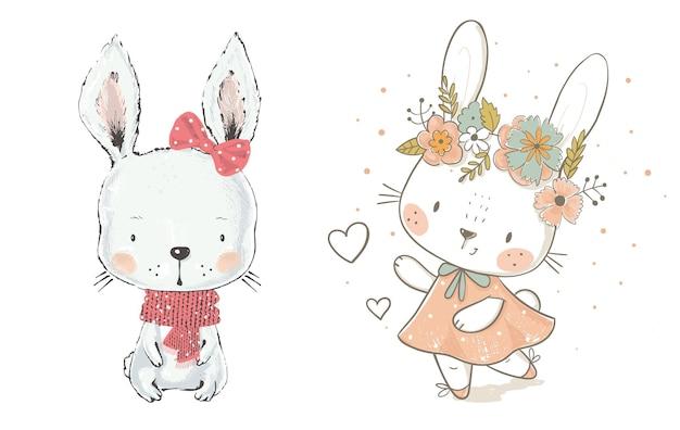 Ilustração vetorial com coleção de lebres fofas coelhos em um fundo branco animais