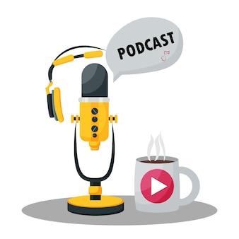 Ilustração vetorial com conceito de podcast; radiodifusão treinamento em webinar online