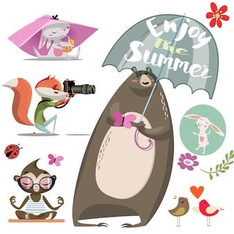 Ilustração vetorial com conjunto de animais fofos de desenho animado