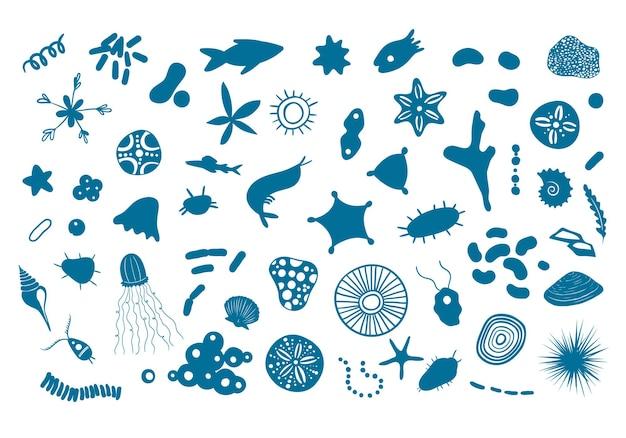 Ilustração vetorial com criaturas marinhas microscópicas krill oceânico sob microscópio