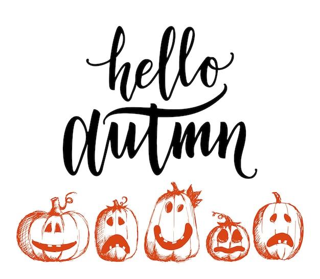 Ilustração vetorial com desenho de abóboras fofas e letras hello autumn design para tecido de impressão
