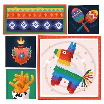 Ilustração vetorial com elementos tradicionais de festa mexicana pinata colorida em forma de cavalo
