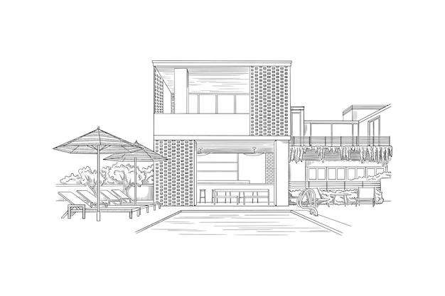 Ilustração vetorial com esboço de arquitetura de construção de uma casa moderna
