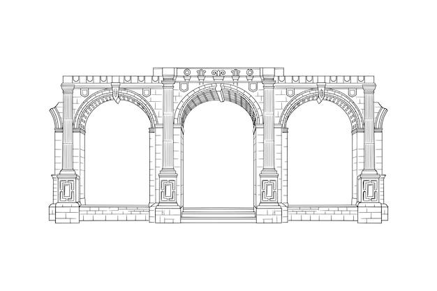Ilustração vetorial com esboço de arquitetura de grande edifício em arco