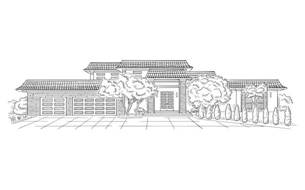 Ilustração vetorial com estilo de local de casamento mansão propriedade rural arquitetura edifício esboço