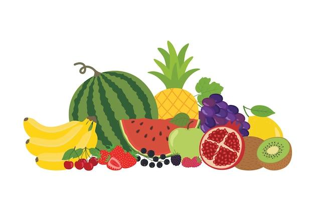 Ilustração vetorial com frutas orgânicas frescas. comida saudável.