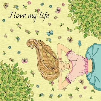 Ilustração vetorial com garota deitada no gramado.