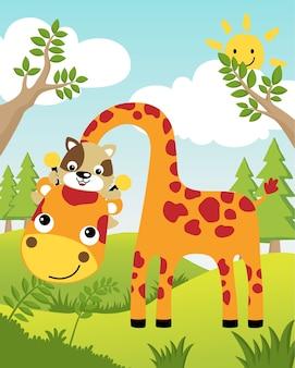Ilustração vetorial com girafa e gato no verão