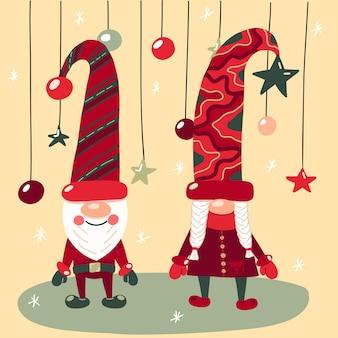 Ilustração vetorial com gnomos pequenos bonitos em bonés, com decorações de natal e flocos de neve.