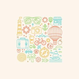 Ilustração vetorial com ícones do verão