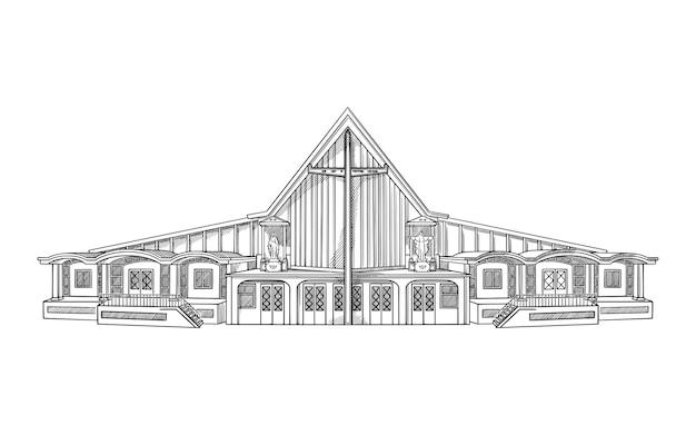 Ilustração vetorial com igreja moderna. esboço de edifício de arquitetura.