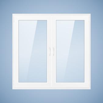 Ilustração vetorial com janela de plástico branca. janela de pvc