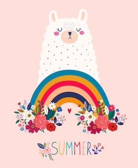 Ilustração vetorial com lama pensativa no colorido arco-íris