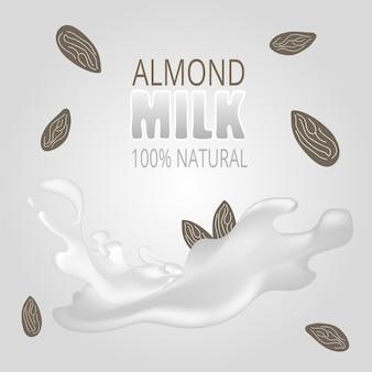 Ilustração vetorial com leite de amêndoa. conceito de vetor sem lactose - logotipo, etiqueta para design