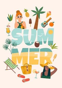 Ilustração vetorial com mulheres em traje de banho na praia tropical.
