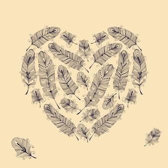 Ilustração vetorial com penas em forma de coração
