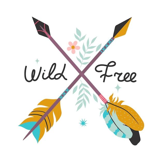 Ilustração vetorial com penas, flechas e miçangas no estilo boho