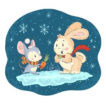 Ilustração vetorial com personagens fofinhos de rato e coelho em fundo de inverno nevado celebrando. estilo desenhado à mão. animais engraçados para livros infantis, estampas, roupas, berçário, interiores.