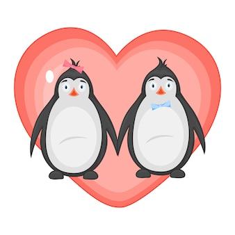 Ilustração vetorial com pinguins no dia dos namorados