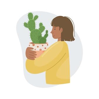 Ilustração vetorial com planta em casa no pote nas mãos da menina. plantas decorativas no interior da casa. estilo simples.