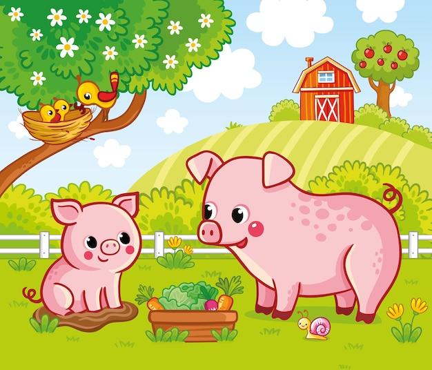 Ilustração vetorial com porcos em uma fazenda em estilo cartoon