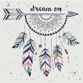 Ilustração vetorial com seta tribal, apanhador de sonhos com penas