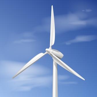 Ilustração vetorial com turbina eólica sobre céu azul nublado