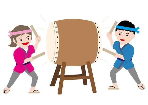 Ilustração vetorial com um homem e uma mulher tocando um tambor taiko tradicional japonês