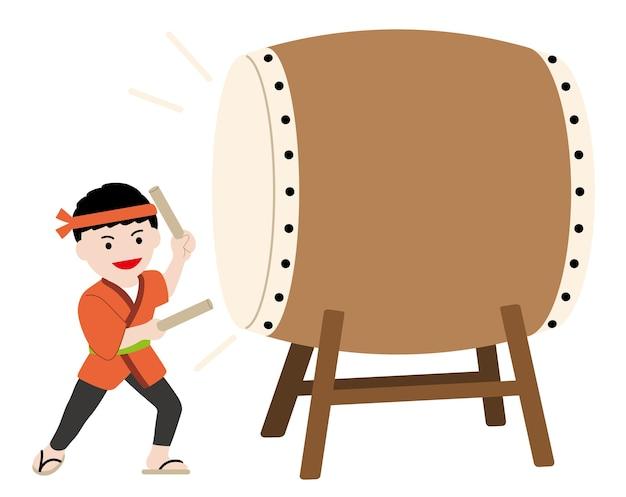 Ilustração vetorial com um homem tocando um tambor de taiko tradicional japonês
