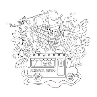 Ilustração vetorial com um ônibus e itens escolares em um livro branco isolado backgroundoutlinecoloring