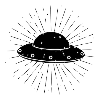 Ilustração vetorial com um ovni e raios divergentes em branco