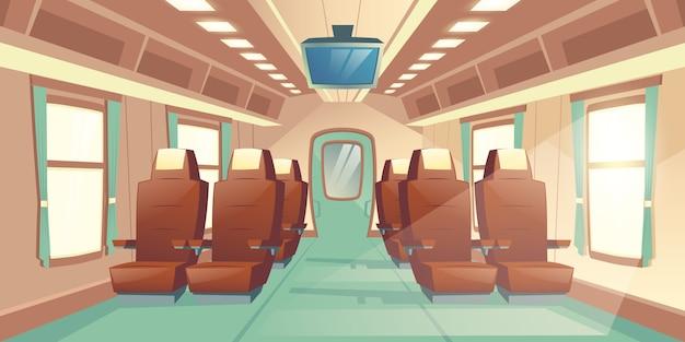 Ilustração vetorial com uma cabine de um trem, assentos com couro marrom e tv