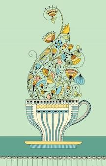 Ilustração vetorial com uma xícara de chá de flores aromáticas