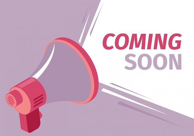 Ilustração vetorial coming soon sound loudspeaker.