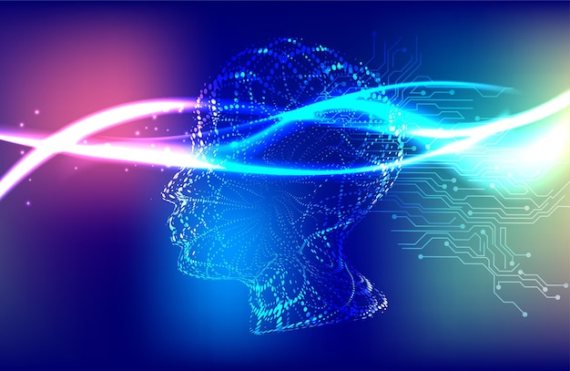 Ilustração vetorial conceito de aprendizado profundo de inteligência artificial ai