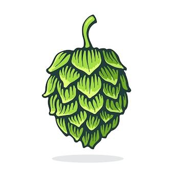 Ilustração vetorial cone verde de lúpulo símbolo de bar de cerveja e bebida alcoólica