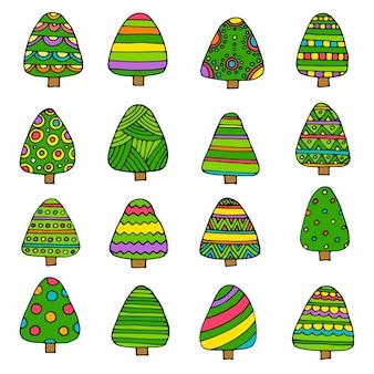 Ilustração vetorial, conjunto de árvore de natal. desenhos animados planos e estilo esboçado da linha desenhada de mão. isolado. aplicável como elemento decorativo para designs de interiores, cartões postais de saudação, pôsteres, folhetos, etc.