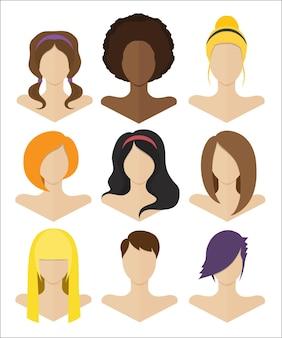 Ilustração vetorial. conjunto de bustos femininos com penteados de vários estilos em um design plano