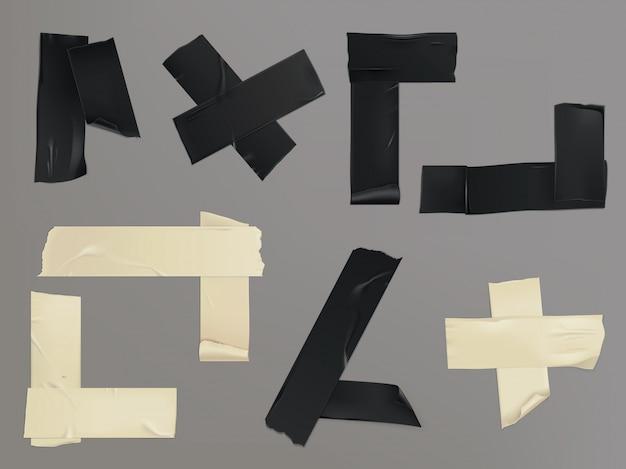 Ilustração vetorial conjunto de diferentes fatias de uma fita adesiva com sombra e rugas