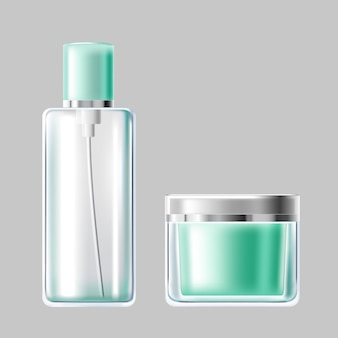 Ilustração vetorial conjunto de embalagem de cosméticos de vidro azul claro