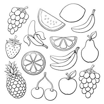 Ilustração vetorial conjunto de frutas e bagas rabiscos desenhados à mão comida vegetariana saudável