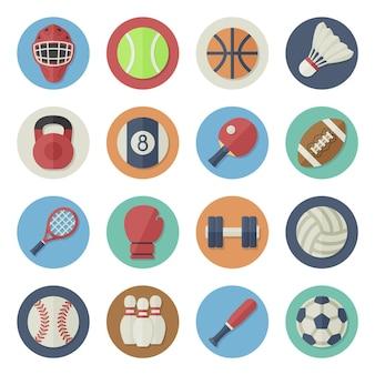 Ilustração vetorial conjunto de ícones plana equipamento desportivo em design simples