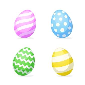 Ilustração vetorial conjunto de ovos de páscoa em estilo simples.