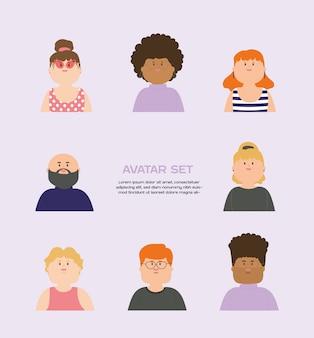 Ilustração vetorial conjunto de personagens de avatar masculino e feminino em design plano.