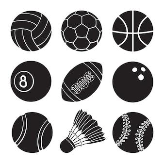 Ilustração vetorial conjunto de silhuetas de ícones de bolas de esporte de futebol, basquete, voleibol