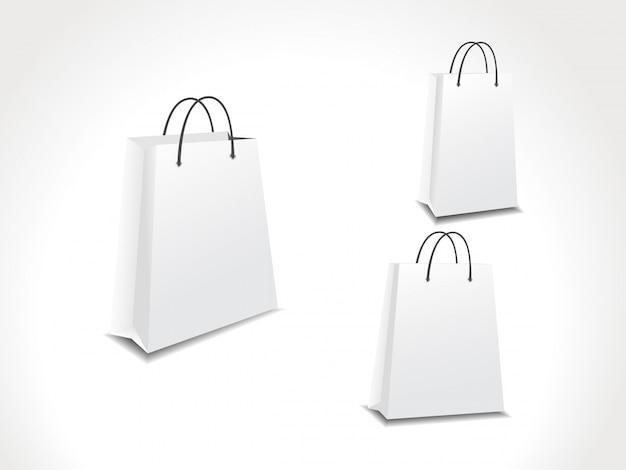 Ilustração vetorial conjunto de três sacolas de compras de papel